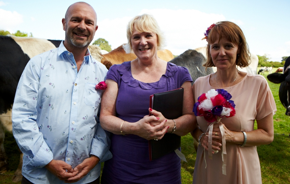 Jenny and Mark marrying at the Animal Sanctuary
